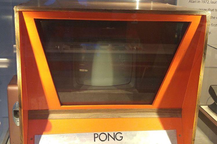 Ilustrasi prototip game arcade Pong.