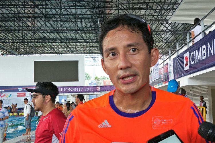 Wakil Gubernur DKI Jakarta Sandiaga Uno di Stadion Akuatik Gelora Bung Karno, Senayan, Selasa (12/12/1017).