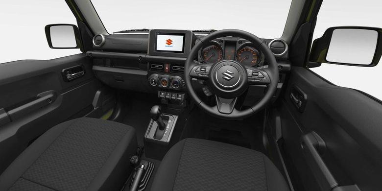 Ilustrasi Interior Suzuki Jimny yang memiliki hand grip pada dasbor dan pintu.