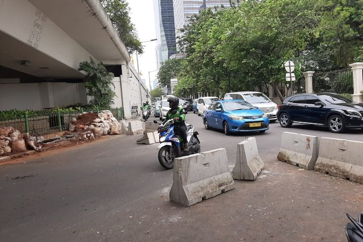 kondisi jalur putaran Dr Satrio, Kuningan, Jakarta Selatan, Jumat (6/12/2019)