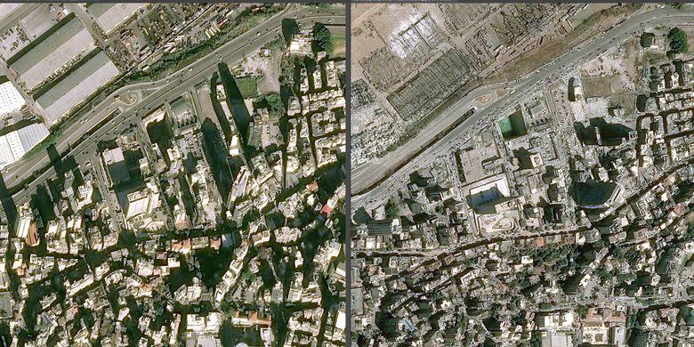Gambar sebelum dan sesudah kawasan perkotaan di Beirut, Lebanon terkena ledakan