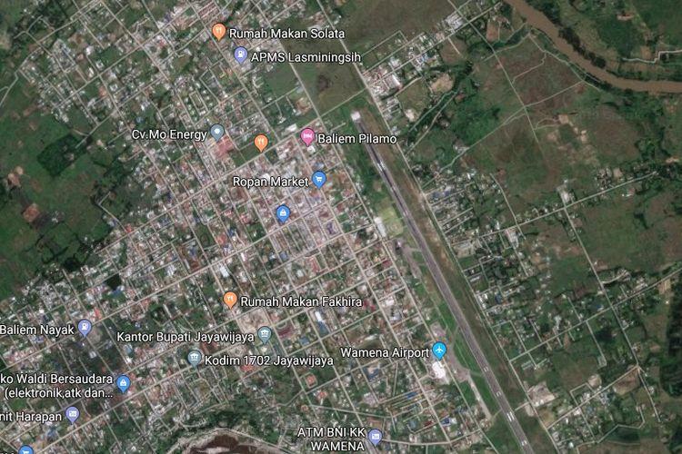 Kota Wamena dalam peta satelit Google Maps.
