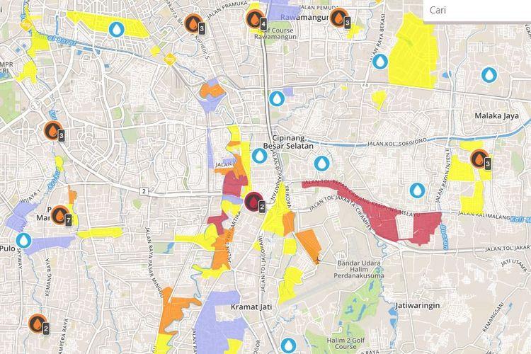 Persebaran banjri yang dilaporkan warga dalam petabencana.id di seputar Jakarta pada Selasa (25/2/2020).