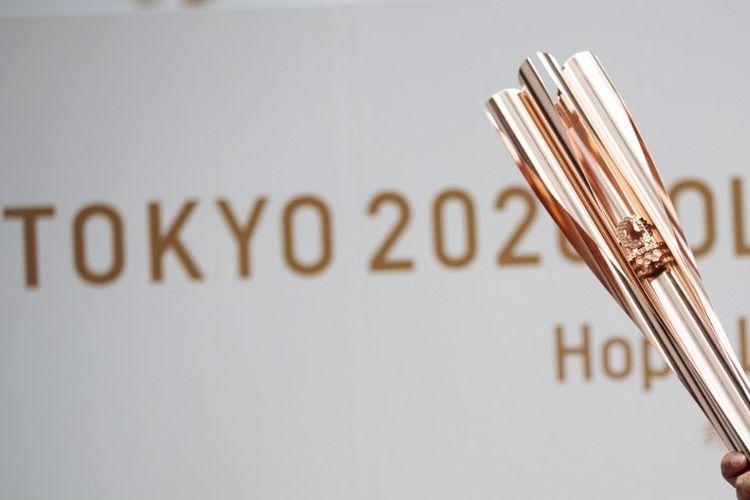Obor Olimpiade 2020 saat dipamerkan ke publik pada 1 Juni 2019 di Tokyo.