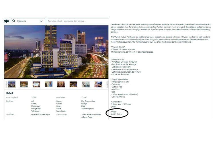Hotel Le Meridien di Jakarta dijual via OLX