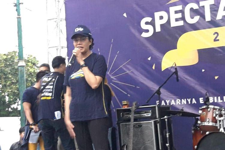 Menteri Keuangan Sri Mulyani Indrawati ketika memberikan paparan di acara Spectaxcular di Jakarta, Minggu (3/3/2019).