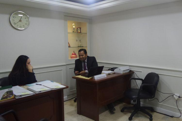 Posko pengaduan panitia khusus (pansus) hak angket Komisi Pemberantasan Korupsi (KPK) di Gedung Nusantara III DPR lantai I, Kompleks Parlemen, Senayan, Jakarta, Senin (19/6/2017).