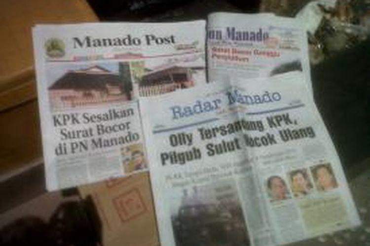 Sejumlah media lokal di Manado menjadikan kasus Olly Dondokambey menjadi berita utama.