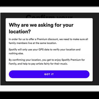 Notifikasi permintaan data lokasi GPS untuk verifikasi alamat pelanggan akun Premium for Family Spotify.