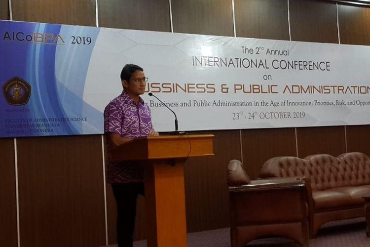 Sandiaga Uno saat berbicara dalam sebuah acara di Fakultas Ilmu Administrasi (FIA) Universitas Brawijaya (UB) Kota Malang, Kamis (24/10/2019).