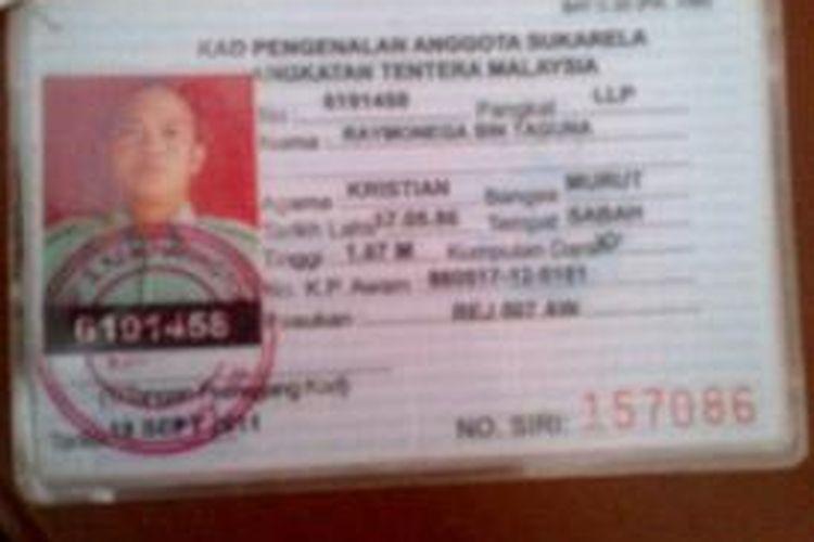 Kartu identitas warga Malaysia sebagai pasukan sukarela tenara Malaysia yang memasuki Indonesia tanpa dokumen resmi.