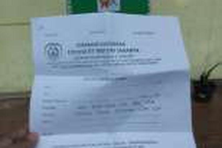 Formulir dukungan Forum RT RW DKI Jakarta yang beredar di sebuah sekolah TK di Jakarta Timur.