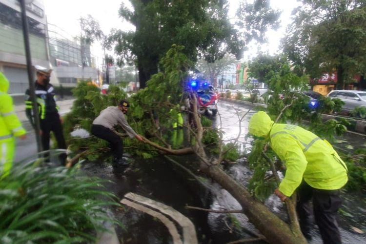 Sejumlah petugas Polresta Malang Kota saat mengevakuasi pohon tumbang yang menimpa jalan di Kota Malang, Minggu (14/3/2021).
