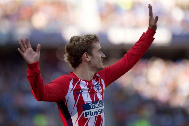 Antoine Griezmann mencetak gol kemenangan Atletico Madrid pada pertandingan La Liga di kandang Malaga, Stadion La Rosaleda, Sabtu (10/2/2018).