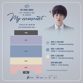 Detail tiket fan meeting Ha Sung Woon di Jakarta pada 22 Juni 2019.