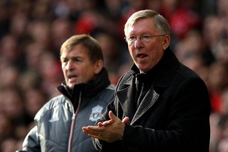 Kenny Dalglish dan Sir Alex Ferguson dalam pertandingan Liverpool vs Manchester United di Stadion Anfield, 28 Januari 2012.