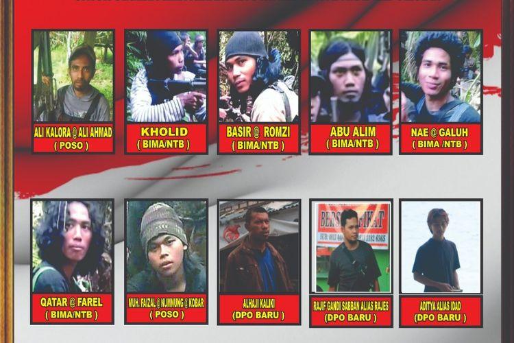 Foto/Daftar Nama-Nama 10 DPO Teroris Kelompok Ali Kalora