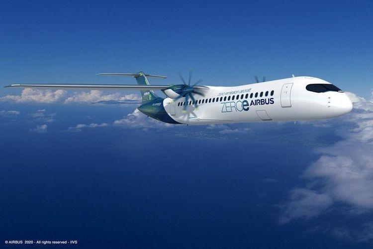 Desain pesawat ramah lingkungan ZEROe rancangan Airbus dengan mesin turboprop.