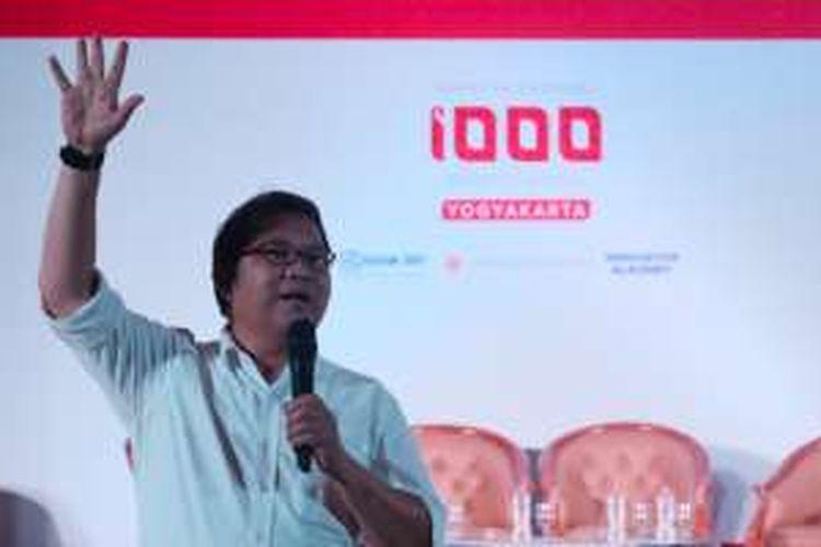 Menkominfo Rudiantara saat bicara di hadapan peserta dan undangan sesi Ignition, Gerakan 1.000 Startup di Yogyakarta, Sabtu (13/8/2016)