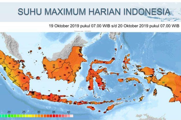 Perkiraan suhu udara panas di wilayah Indonesia dalam seminggu terakhir.