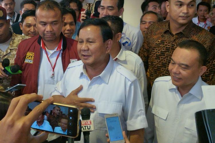 Ketua Umum Partai Gerindra Prabowo Subianto saat ditemui pada rapat kerja nasional (Rakernas) Partai Gerindra, di Hotel Sultan, Jakarta, Kamis (5/4/2018).
