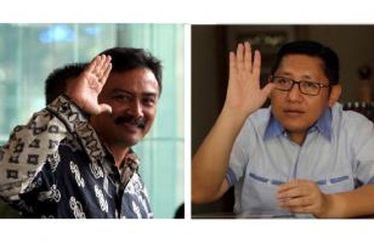 Andi Alfian Mallarangeng (kiri) dan Anas Urbaningrum (kanan).