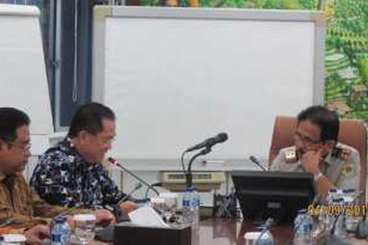Menteri Agraria dan Tata Ruang/Kepala Badan Pertanahan Nasional (ATR/BPN) Sofyan Djalil menerima kunjungan Ketua Umum DPP REI Eddy Hussy.