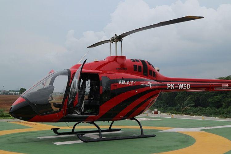Helikopter tipe Bell 505 milik operator Helicity di Heliport BSD City, Tangerang Selatan, Selasa (31/12/2019).