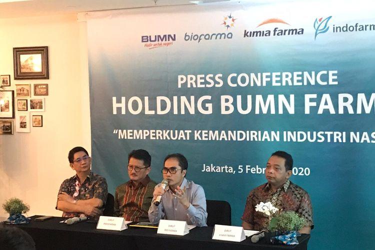 Konferensi pers terkait pembentukan holding BUMN farmasi di Jakarta, Rabu (5/2/2020).