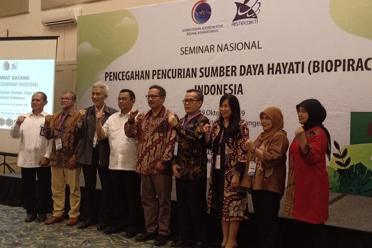 Kemenko Kemaritiman dan Kemristekdikti menggelar Seminar Nasional Pencegahan Pencurian Sumber Daya Hayati (Biopiracy) Indonesia di Tangerang, Senin (28/10/2019).
