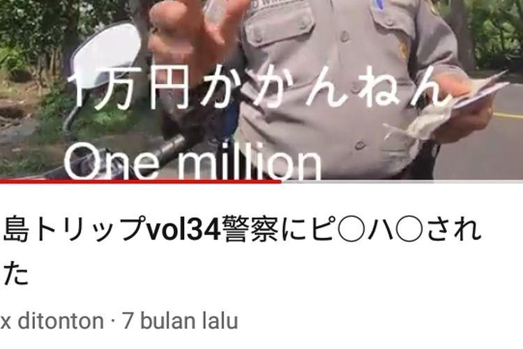 Tangkapan video dugaan oknum polisi tilang turis Jepang Rp 1 Juta