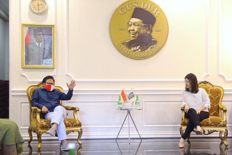 Ketua Umum PSI Grace Natalie bertemu dengan Ketua Umum PKB Muhaimin Iskandar, Senin (6/7/2020) sore.