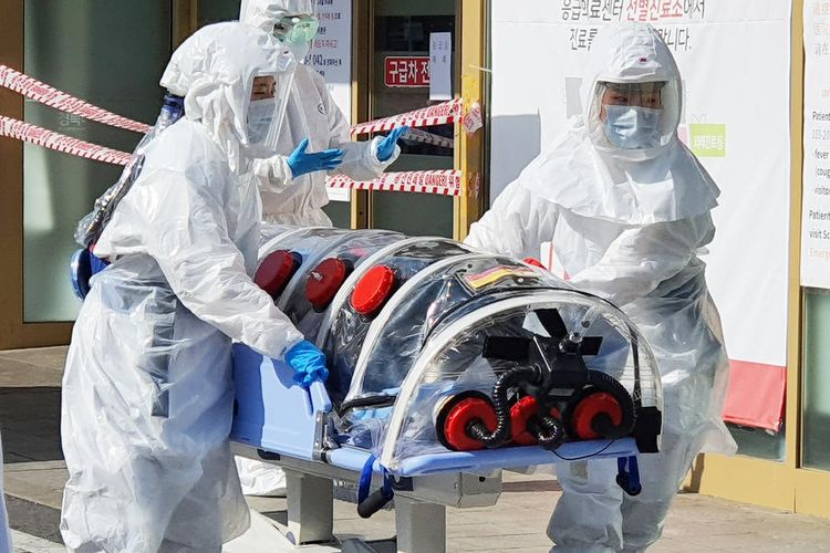 Pasien suspect virus corona di Daegu Korea Selatan  EPA-EFE/YONHAP SOUTH KOREA OUT