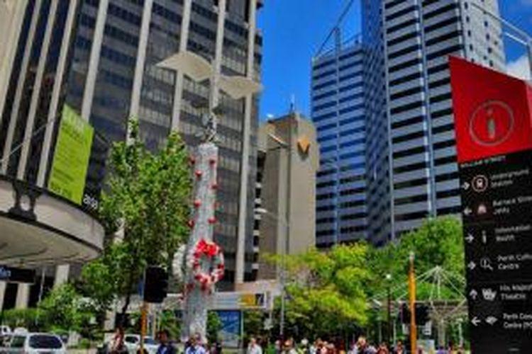 Pemandangan dari City Center, gedung-gedung tinggi di Perth CBD, Australia.