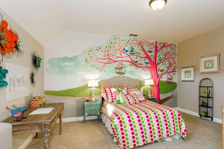 Mural dengan warna senada di kamar tidur anak