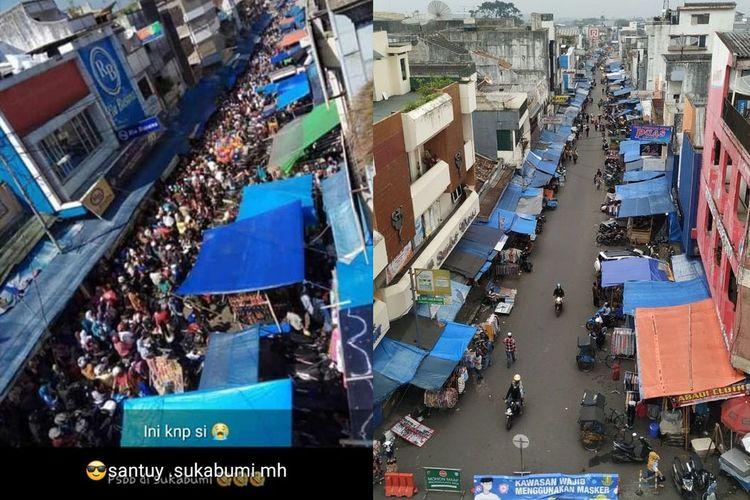 Kiri: Foto di Sukabumi yang viral. Kanan: Foto terkini yang diambil di lokasi yang sama.
