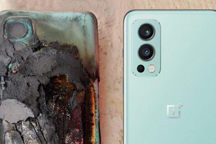 Penampakan ponsel OnePlus Nord 2 yang meledak dan hangus terbakar