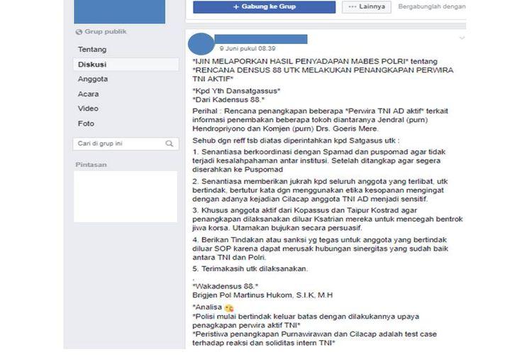 Tangkapan layar mengenai isu densus 88 akan melakukan penangkapan Perwira TNI