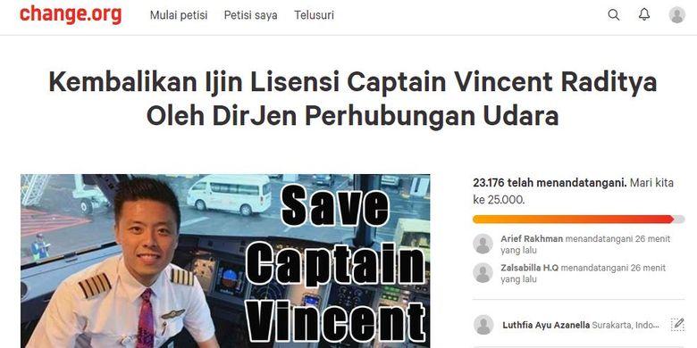Petisi untuk Capt. Vincent di platform Change.org
