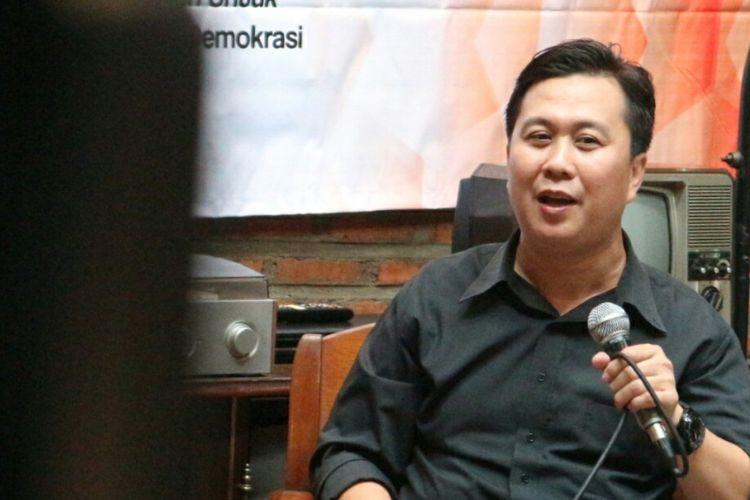 Deputi Koordinator Indonesia Corruption Watch (ICW), Ade Irawan ketika ditemui dalam sebuah diskusi di Jakarta, Sabtu (24/3/2018).