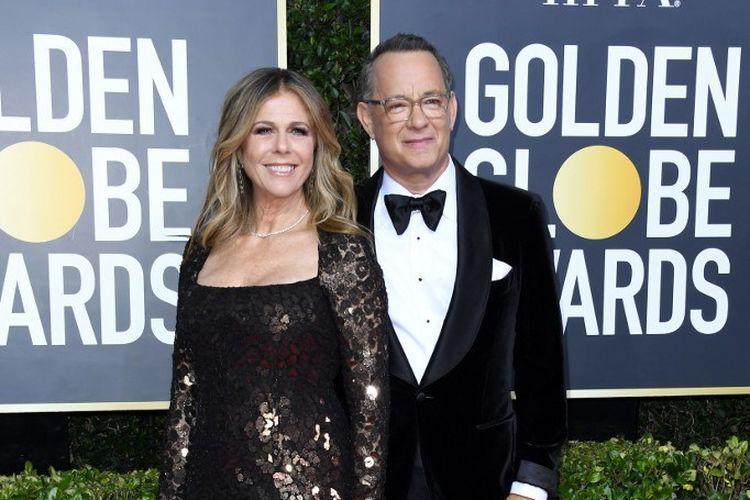 Pasangan aktor Rita Wilson dan Tom Hanks menghadiri perhelatan Golden Globes Awards 2020 yang digelar di The Beverly Hilton Hotel, Beverly Hills, California, pada 5 Januari 2020.