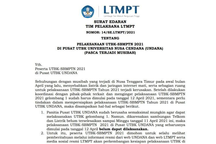 UTBK Undana digeser jadwal pelaksanannya karena bencana alam.