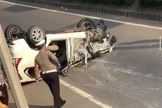 Kecelakaan hingga Mobil Terbalik di Tol JORR, Suami, Istri, dan Anak Selamat