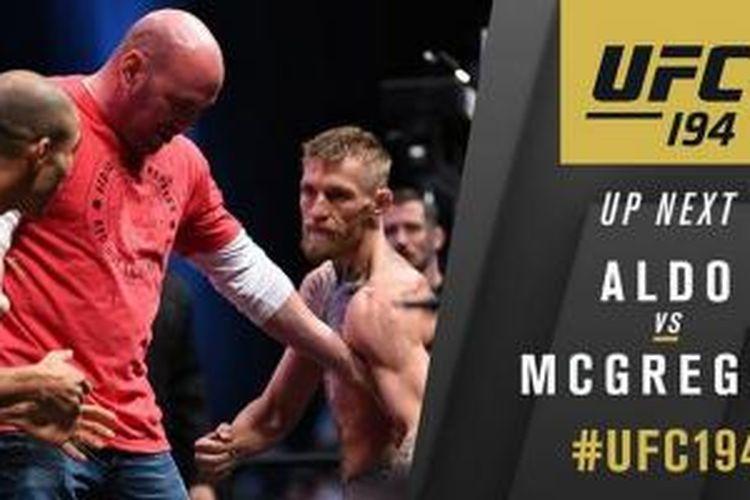 Jose Aldo dan Conor McGregor bertarung demi gelar kelas bulu UFC 194 di Las Vegas, Sabtu (12/12/2015).