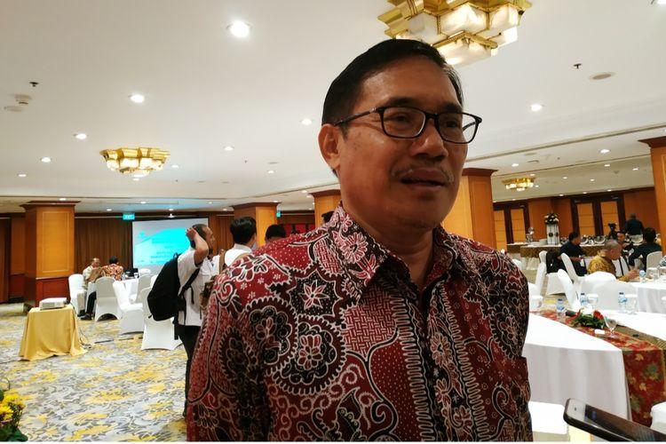 Plt Ketua BPIP Hariyono setelah memberikan materi penguatan nilai Pancasila untuk penceramah dan pengajar di Hotel Borobudur, Gambir, Jakarta Pusat, Senin (18/11/2019).
