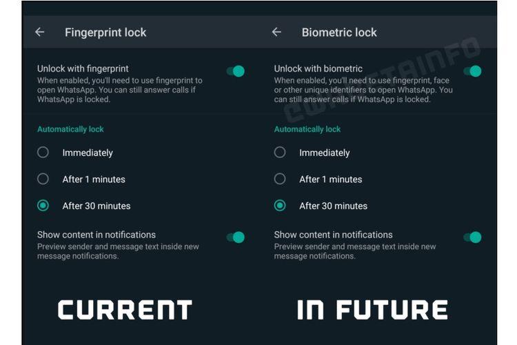 Fitur Biometrick Lock di aplikasi WhatsApp berbasis Android