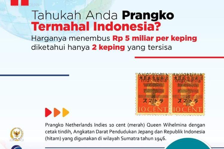 Prangko termahal di Indonesia seharga Rp 5 miliar.