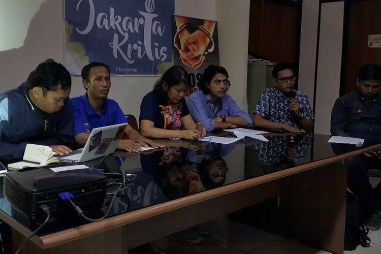 Konferensi pers tentang reklamasi di LBH Jakarta, Menteng, Jakarta Pusat, Minggu (7/5/2017).