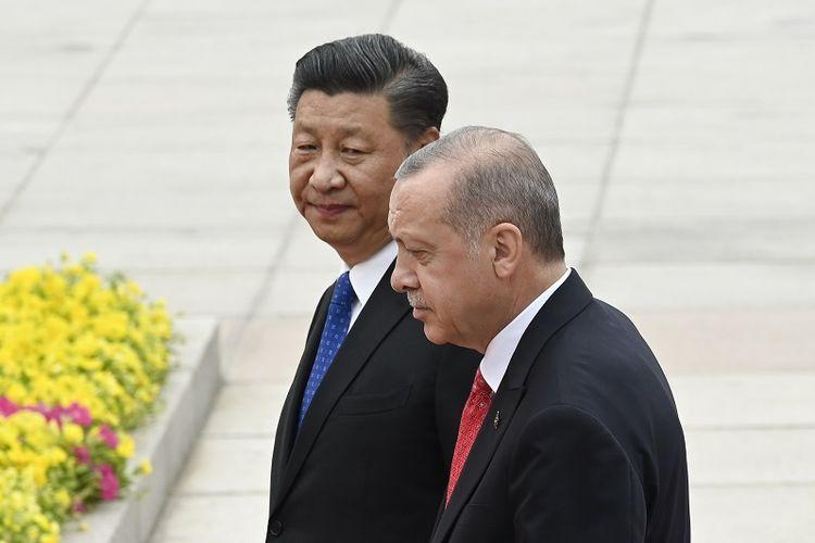 Presiden Turki Recep Tayyip Erdogan dan Presiden China Xi Jinping.