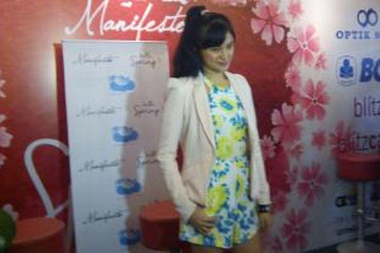 Marshanda hadir dalam jumpa pers kegiatan Celebrity Garage Sale for Charity in Manifesto di Grand Indonesia, Jakarta Pusat, Kamis (2/4/2015).